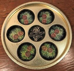 Tennessee State Souvenir Metal Tin Tray Cup Holder Map Iris Pine Cones Vintage