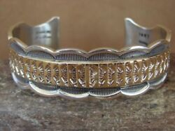 Native American Jewelry Hand Stamped Gold Sterling Silver Bracelet Marc Antia