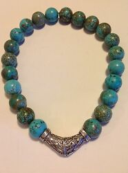 Antique Moroccan Turquoise Natural Beads Necklace Original Silver Jewelry M1244