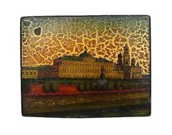 Vintage Russian Fedoskino Lacquer Box 3228 Moscow Kremlin