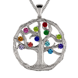 Nana Mothers Tree Of Life Birthstone Necklace 1-12 Stones With A 1mm Box Chain