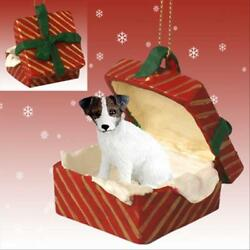 Jack Russell Terrier Brn Wht Rough Dog RED Gift Box Holiday Christmas ORNAMENT