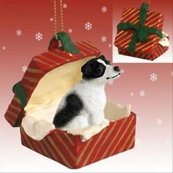 Jack Russell Blk Wht Smooth Dog RED Gift Box Holiday Christmas ORNAMENT