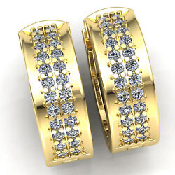 Real 2carat Round Cut Diamond Womenand039s Classic Hoops Earrings 14k Gold