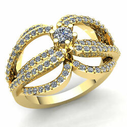 Real 1.5carat Round Cut Diamond Ladies Solitaire Fancy Engagement Ring 14k Gold