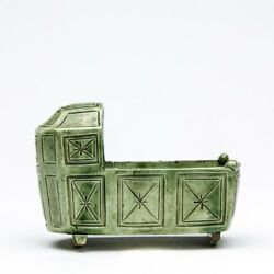 Antique English Pottery Cradle Glazed Green 18th C.