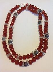 Antique Chinese Butterscotch Round Honey Amber Silver Glass Bead Necklace M1395