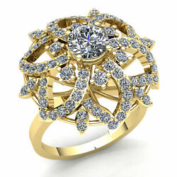 Natural 2ctw Round Cut Diamond Ladies Accent Flower Fancy Ring 18k Gold