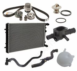 For Vw Jetta Radiator Lower Upper Water Pump Hoses Recovery Tank Thermostat Kit