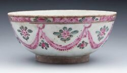 Antique Middle Eastern Bowl With Floral Garlands 17/18th C.