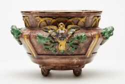 Antique French St Honore Palissy Majolica Planter 19th C.