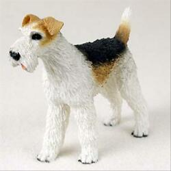 Wirehaired Fox Terrier Dog Hand Painted Canine Collectable Figurine Statue