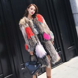 Real 100% Fox Fur Warm Womens Winter Thicken Coats Trench Long Slim Warm Jackets