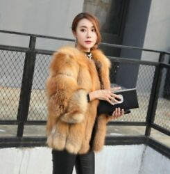 Womens 100% Fox Fur parka Winter Thicken Warm Trench Coat Slim Outwear Jacket sz