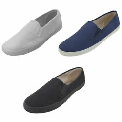 NEW Mens Canvas Sneakers Classic Deck Slip On Shoes 3 Colors Sizes:7 13