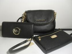 Michael Kors Bedford Crossbody Black Leather MK Gold Continental Wallet Wristlet