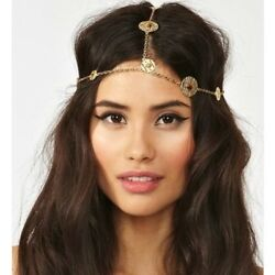 House Of Harlow Gold Coin Boho Hair Jewelry Headpiece Costume Festival