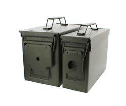 30 And 50 Cal Metal Gun Ammo Can 2-pack Andndash Military Steel Box Set Ammo Storage