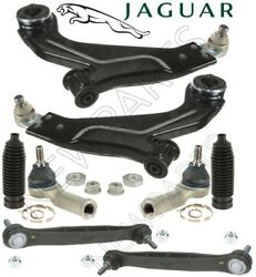 For Jaguar X-Type Pair Set 2 Front Control Arms Sway Bars Tie Rod Ends Links Kit