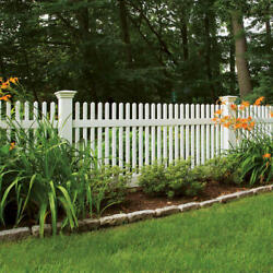 96and039 Of 4and039 High Pvc Vinyl Louisville Victorian Picket Fence Straight Top