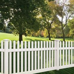 96and039 Linear Feet Of 4and039 High Pvc Vinyl Denville Straight Traditional Picket Fence