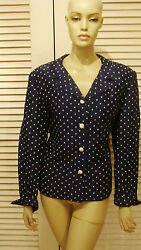 LESLIE FAY SOPHISTICATED NAVY w WHITE POLKA DOT & BUTTONS RAYON JACKET 1X