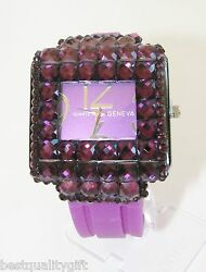 Geneva Purple Magenta,purple Silicone With Crystals Square Dial Watch-new