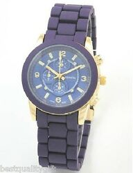 New Geneva Designer's Purple Silicone Wrapped Metal,gold Small Chronograph Watch
