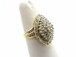 Solid 10k Y Gold 1 Ct. Diamond Cluster Ring Marquise Shaped Not Scrap