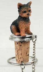 Yorkshire Terrier Yorkie Puppy Cut Dog Hand Painted Figurine Wine Bottle Stopper