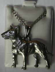 Bull Terrier Dog Harris Fine Pewter Pendant w Chain Necklace USA Made
