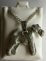 Wirehaired Fox Terrier Dog Harris Fine Pewter Pendant w Chain Necklace USA Made