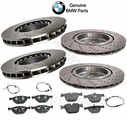 For Bmw M5 M6 Front And Rear Cross-drilled Brake Discs Pads And Sensors Kit Genuine