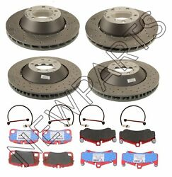 For Porsche 911 Front & Rear Disc Brake Rotors+Pins & Pads w Sensors Kit OEM