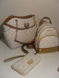Michael Kors Vanilla PVC Jet Set Travel Chain LG Abbey Backpack wristlet Wallet