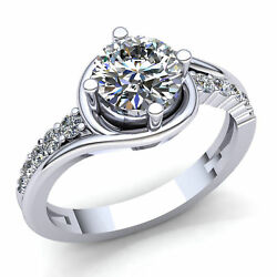 1.5ct Round Cut Diamond Ladies Twisted Halo Solitaire Engagement Ring 18k Gold