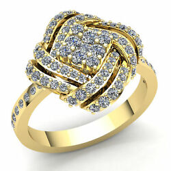 Natural 1.5ct Round Diamond Ladies Cross Over Cluster Engagement Ring 14k Gold