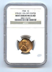 1944 Lincoln Cent 1c Srtuck 10 Off Center-ngc Ms65rd-rare-mint Error-