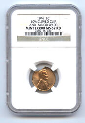 1944 Lincoln 1c 10 Curved Clip And Minor@900-ngc Ms67rd-rare-mint Error-