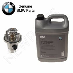 For Bmw E60 F10 F07 E66 Thermostat And Housing W/ O-ring And 4 Liter Antifreeze Blue