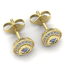 3ct Round Cut Diamond Ladies Double Halo Solitaire Stud Earrings 10k Gold