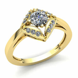 Real 2carat Round Cut Diamond Ladies Solitaire Halo Engagement Ring 14k Gold