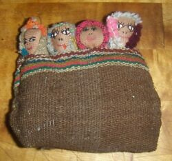 4 1/2x4 Early Peruvian Handmade Burial Cloth Doll Heads Faces In Pouch