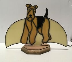 AIREDALE WELSH TERRIER ONE OF A KIND STAINED GLASS NIGHT LIGHT