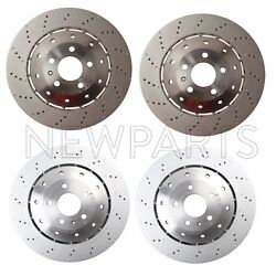 For Audi R8 08-12 Set Of 2 Front And Rear Vented Drilled Dimpled Disc Rotors Oem