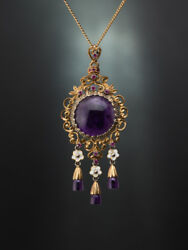 Vintage Natural Ruby And Amethyst Pendant