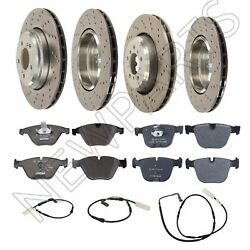 For Bmw E90 M3 Front And Rear Vented Drilled Brake Disc With Pads And Sensors Oem