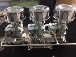 Vintage Speed Stromberg 97 3 X 2 Carb To 4 V Adapter Set Tri Power Hot Rod