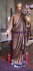 + 90 Year Old Cast Limestone Statue Of St. Joseph + 62 Ht. + Chalice Co.