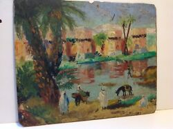 Antique Judaica Painting Oil On Plywood Sale Moroccan 1922 M1585